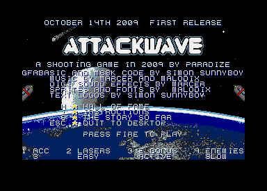 [Attackwave title screen]